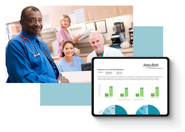 Photo of doctor and front office team with an overlayed image of a tablet showing a financial dashboard
